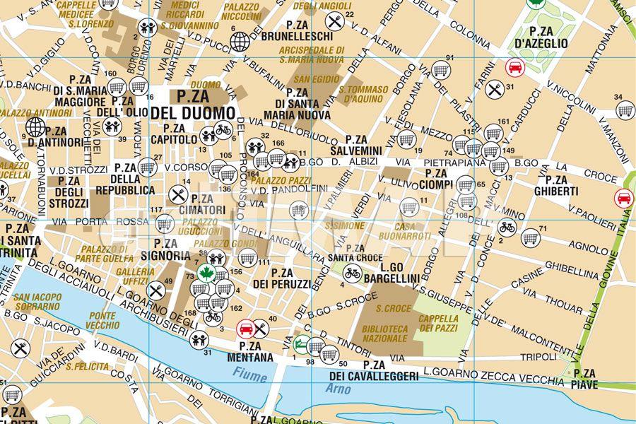 Cartina Citta Di Firenze.Mappa Di Firenze Pdf Vettoriale Con I Monumenti 3d Edimap