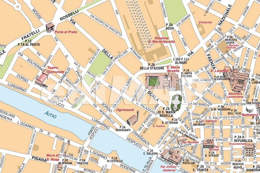 Cartina Firenze Da Stampare.Mappa Di Firenze Pdf Vettoriale Con I Monumenti 3d Edimap