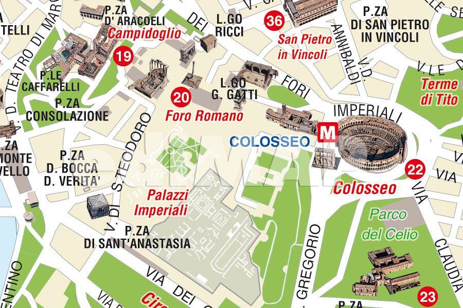 Cartina Di Roma Centro Con Monumenti.Mappa Di Roma Pdf Vettoriale E Tiff Da Stampare Edimap